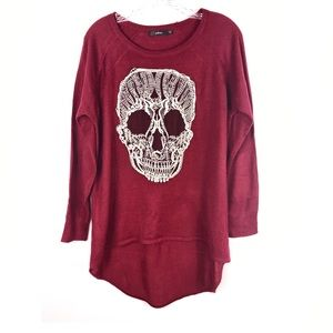 Millau | Burgundy Skull High Low Sweater M